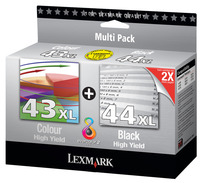 Original Lexmark 44XL Black and 43XL Colour Cartridges Twin Pack (0080D2966)