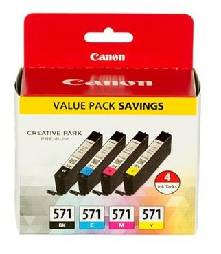 Original Canon CLI-571 Multipack of 4 Ink Cartridges (Black/Cyan/Magenta/Yellow)