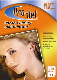 Pro-Jet 130g A4 Matt Photo Paper 100 sheets