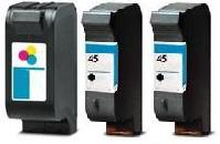 Remanufactured HP 23 Colour and HP 45 Black Ink Cartridges + EXTRA BLACK