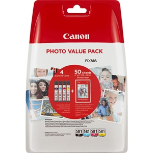 Original Canon CLI-581 4 Colour Inkjet Cartridge Multipack With Photo Paper - (2106C005)