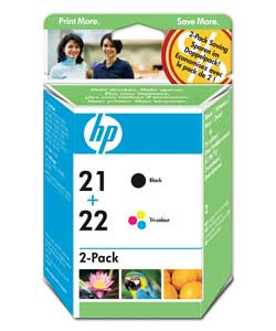 Original HP 21 Black and 22 Colour Ink Cartridges  Twin Pack