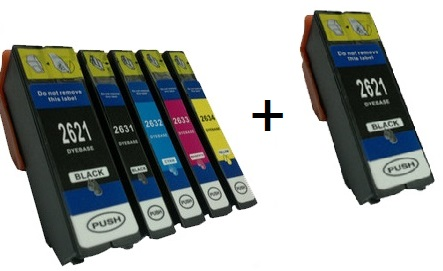 Compatible Epson 26XL a Set 5 Ink cartridges High Capacity + EXTRA BLACK (2 x Black 1 x Photo Black/Cyan/Magenta/Yellow)