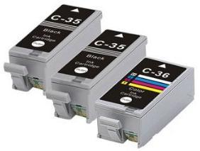 Compatible Canon 2 x PGI-35BK Black and 1 x CLI-36 Colour Ink Cartridges