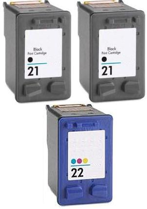 Remanufactured HP 21 Black and HP 22 Colour Ink Cartridges + EXTRA BLACK