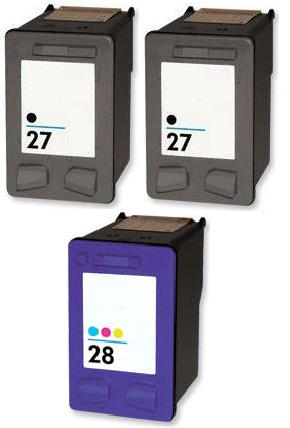 Remanufactured HP 27 (C8727AN) High Capacity Black and  1 x HP 28 (C8728AN) High Capacity Colour Ink Cartridges