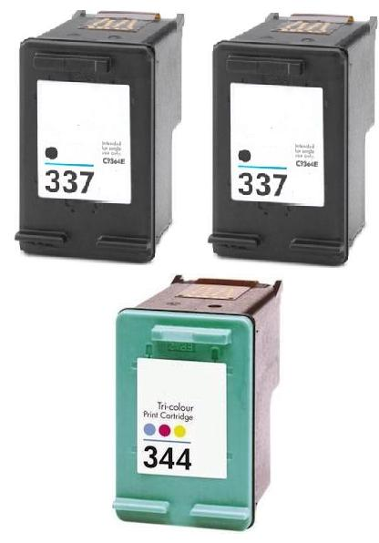 Remanufactured HP 337 Black and HP 344 Colour Ink Cartridges  + EXTRA BLACK