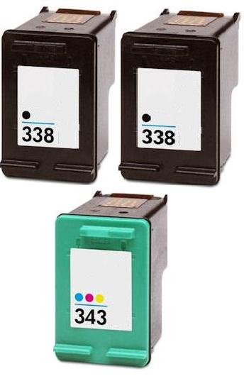 Remanufactured HP 338 (C8765EE) High Capacity Black and 1 x HP 343 (C8766EE) High Capacity Colour  Ink Cartridges