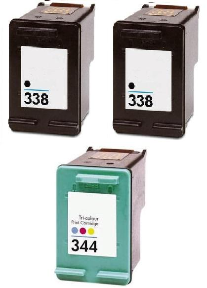 Remanufactured HP 338 (C8765EE) High Capacity Black and 1 x HP 344 (C9363EE) High Capacity Colour  Ink Cartridges