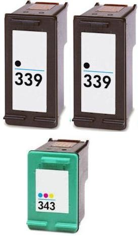 Remanufactured HP 339  (C8767EE) High Capacity Black and 1 x HP 343 (C8766EE) High Capacity Colour  Ink Cartridges