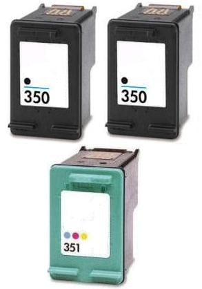 Remanufactured HP 350 (CB335EE) and 351 Cartridges + EXTRA BLACK (CB337EE)