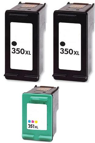 Remanufactured HP 350XL (CB336EE) and 351XL  Cartridges + EXTRA BLACK (CB338EE)