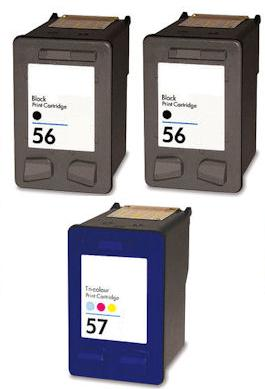 Remanufactured HP 56 Black and HP 57 Colour Ink Cartridges + EXTRA BLACK