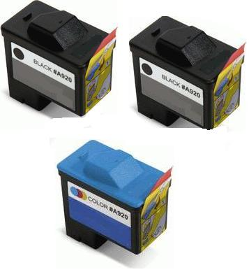 Remanufactured Dell T0529 and T0530 Ink Cartridges + EXTRA BLACK