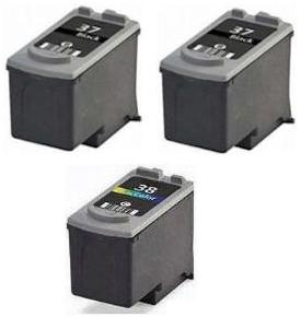 Remanufactured Canon PG-37 Black and CL-38 Colour Ink Cartridges + EXTRA BLACK