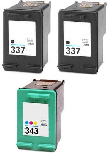 Remanufactured HP 337 (C9364EE) High Capacity Black and 1 x HP 343 (C8766EE) High Capacity Colour  Ink Cartridges