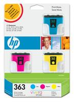 Original HP 363 3 Pack CB333EE Ink cartridges (Cyan/Magenta/Yellow)