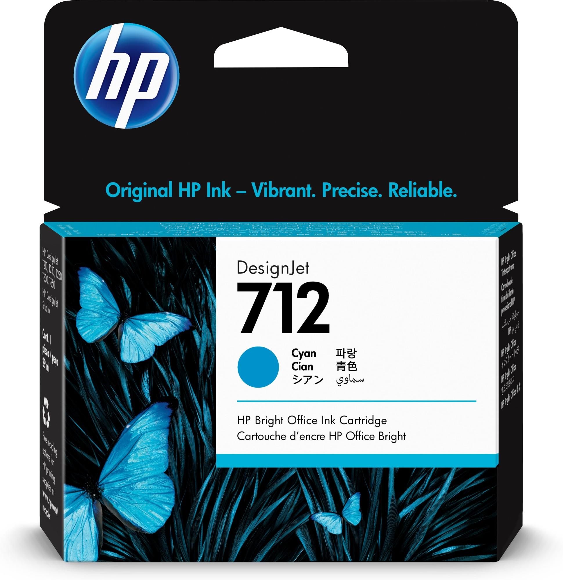 HP Original 712 Cyan Inkjet Cartridge 3ED67A