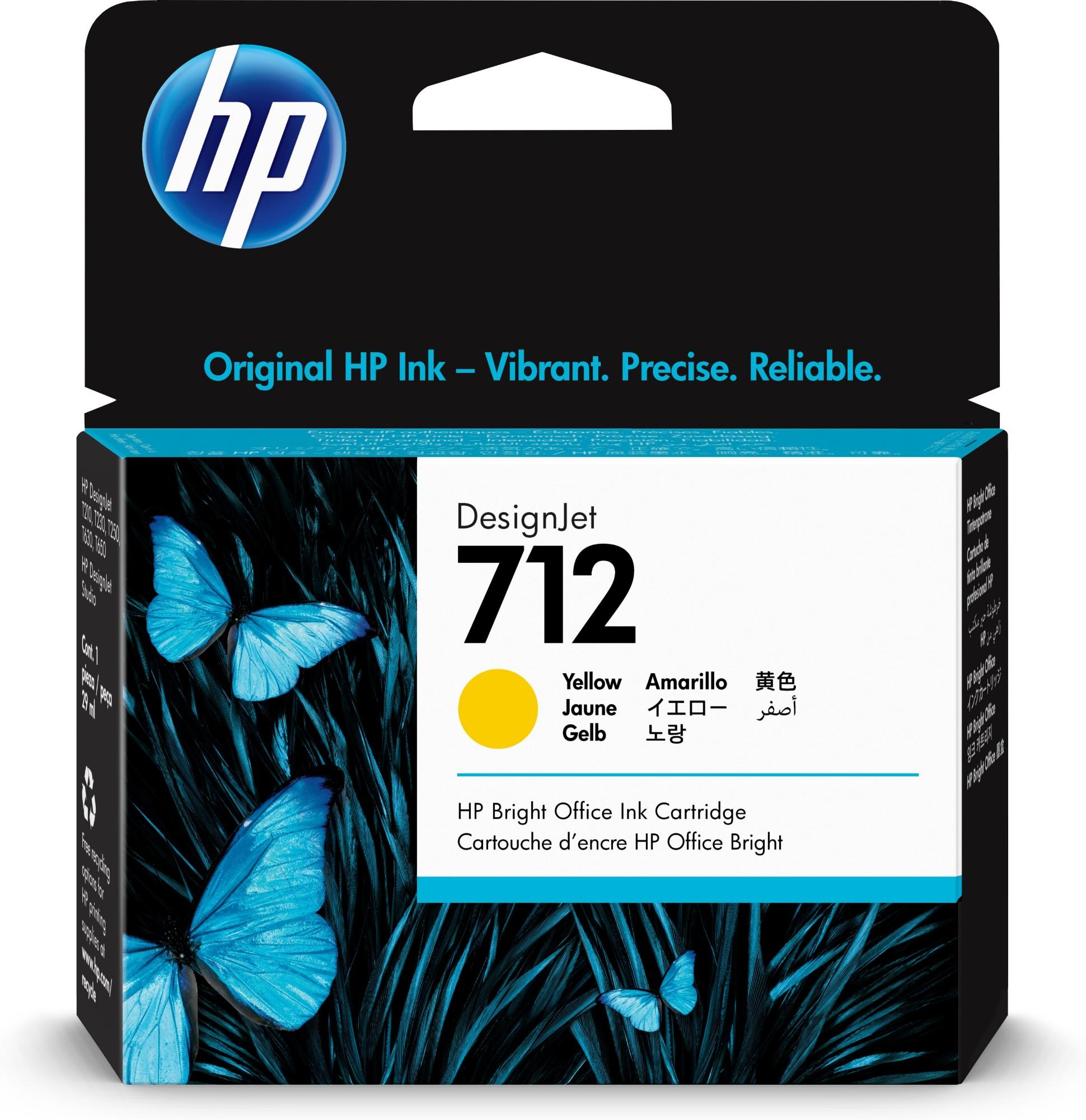 HP Original 712 Yellow Inkjet Cartridge 3ED69A
