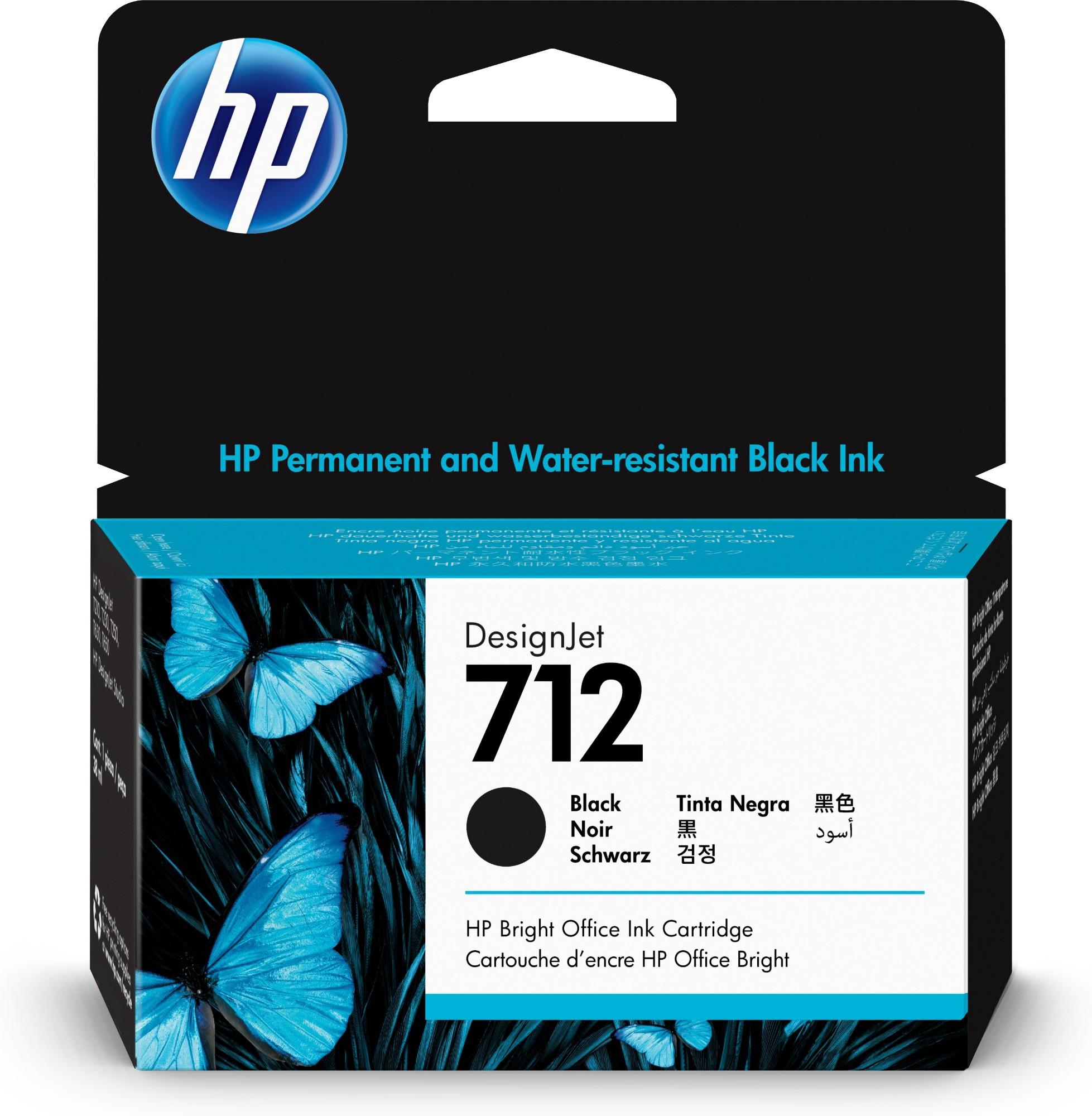 HP Original 712 Black Inkjet Cartridge 3ED70A