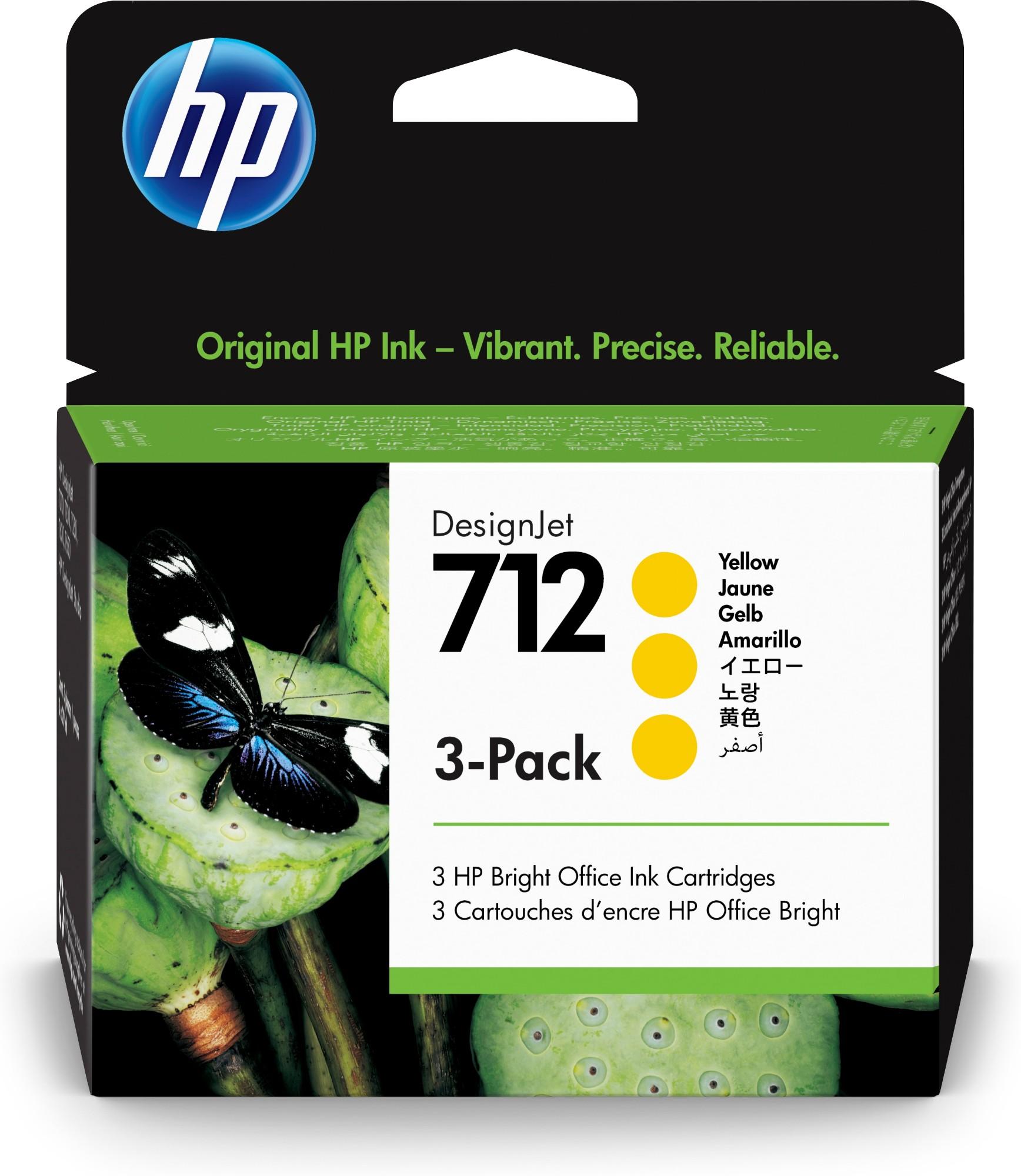 HP Original 712 Yellow Triple Pack Inkjet Cartridges 3ED79A