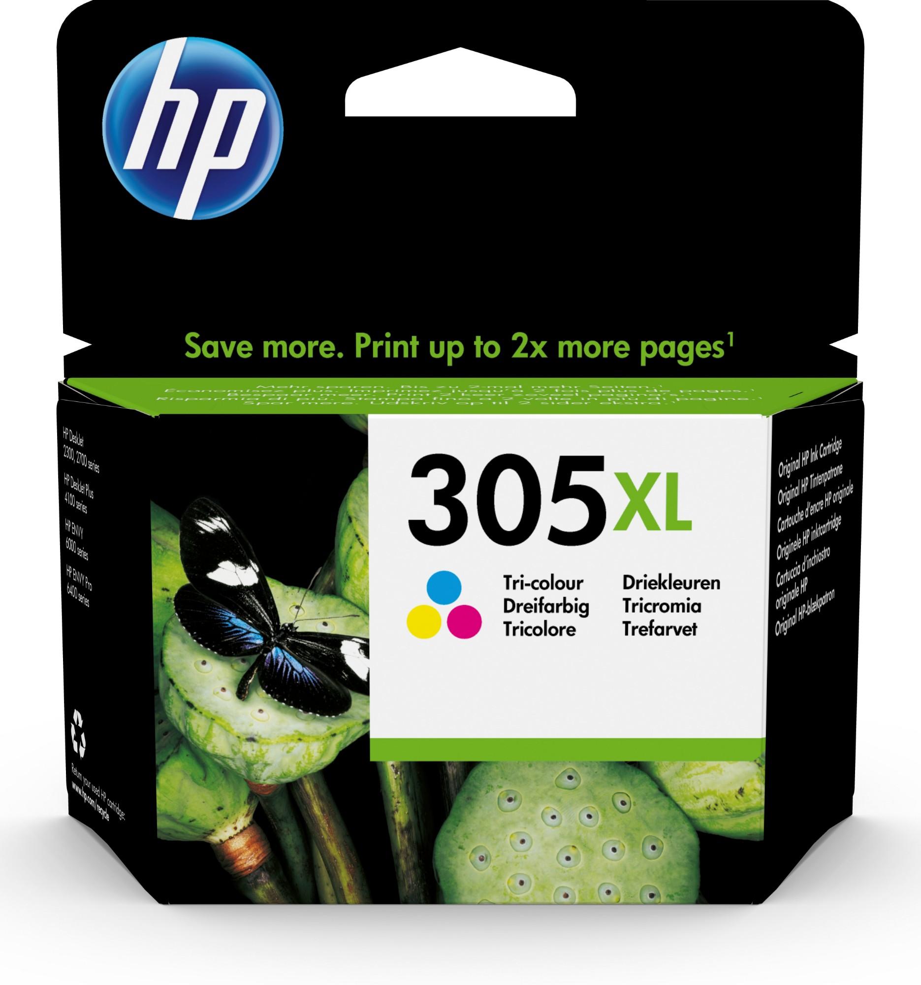 Original HP 305XL Tri-Colour High Capacity Inkjet Cartridge 3YM63AE