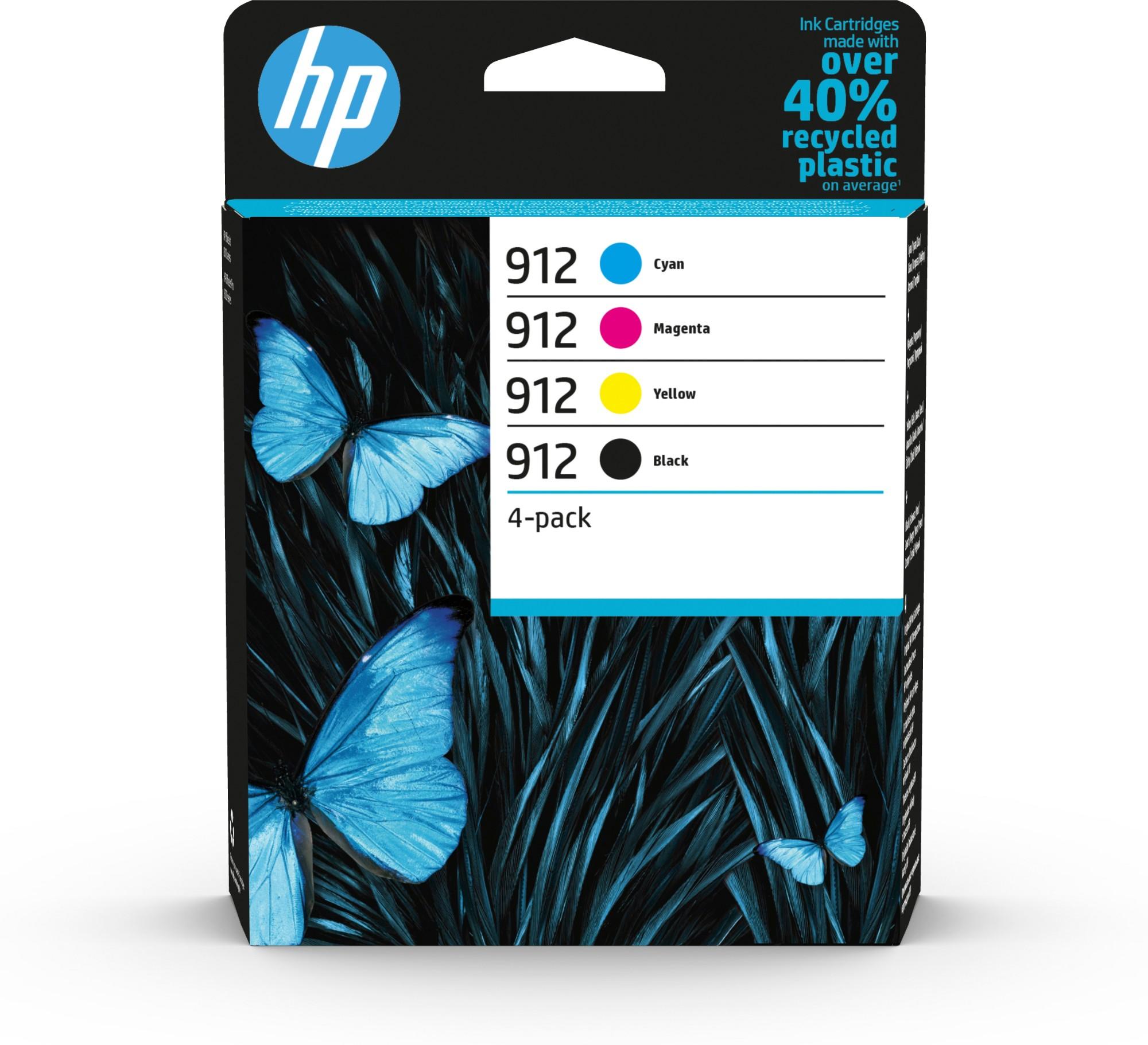 Original HP 912 Combo Pack Of 4 Ink Cartridges (Black/Cyan/Magenta/Yellow)