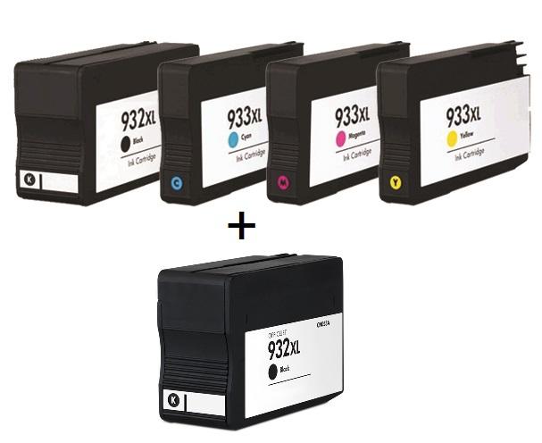 Compatible HP 932XL/933XL a set of 4 Ink Cartridges + EXTRA BLACK (2 x Black 1 x Cyan/Magenta/Yellow)