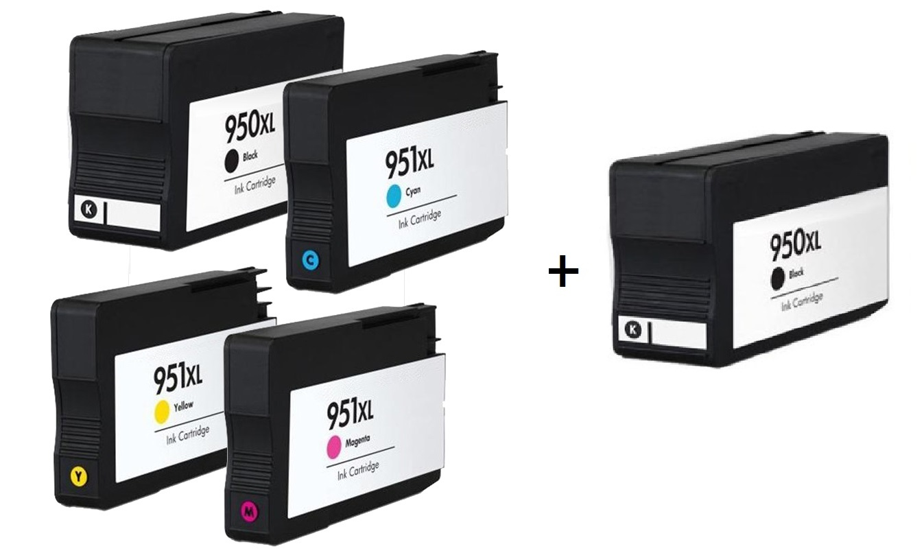 Compatible HP 950XL/951XL a set of 4 Ink Cartridges + EXTRA BLACK  (2 x Black 1 x /Cyan/Magenta/Yellow)