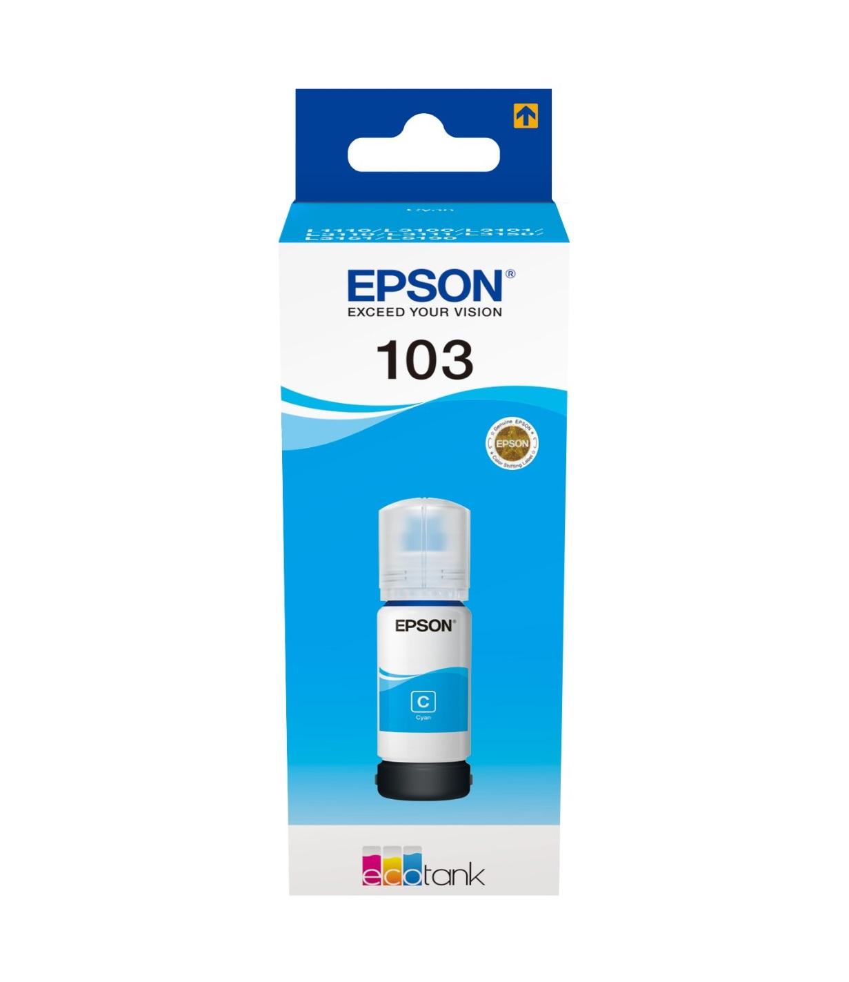 Epson Original 103 Cyan Ecotank Ink Bottle C13T00S24A