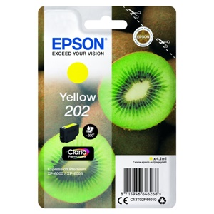 Epson Original 202 Yellow Inkjet Cartridge - (C13T02F44010)