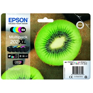 Epson Original 202XL 5 Colour High Capacity Inkjet Cartridge Multipack - (C13T02G74010)