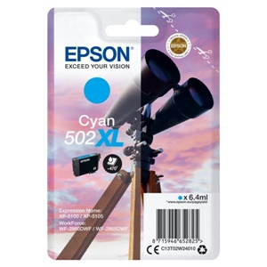 Epson Original 502XL Cyan High Capacity Inkjet Cartridge - (C13T02W24010)