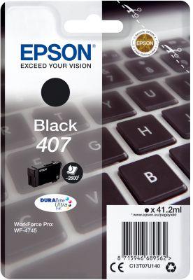 Original Epson 407 Black Ink Cartridge C13T07U140