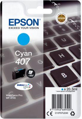 Original Epson 407 Cyan Ink Cartridge C13T07U240
