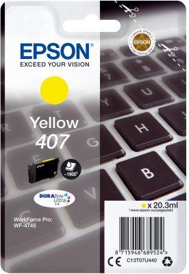 Original Epson 407 Yellow Ink Cartridge C13T07U440