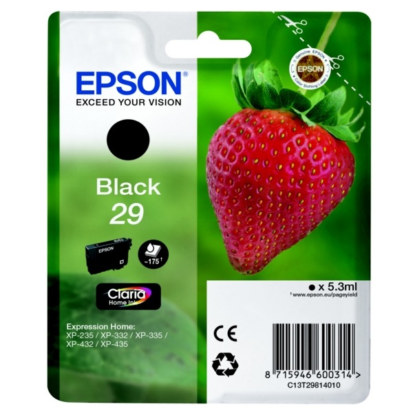 Original Epson 29 Black Ink Cartridge (T2981)