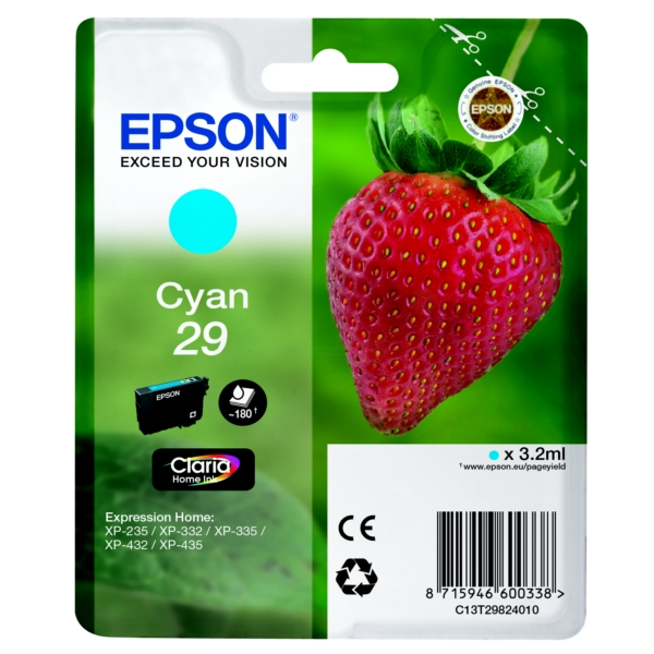 Original Epson 29 Cyan Ink Cartridge (T2982)