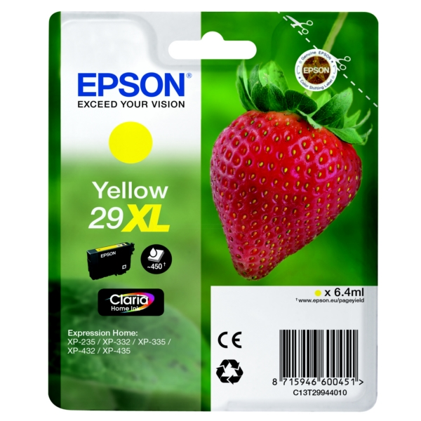 Original Epson 29XL Yellow High Capacity Ink Cartridge (C13T29944010)