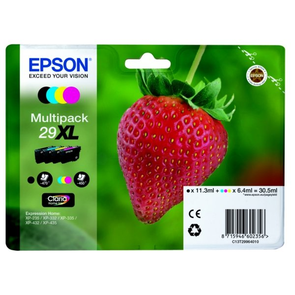 Original Epson 29XL High Capacity Ink Cartridge Multipack (Black,Cyan,Magenta,Yellow)