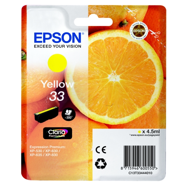 Original Epson 33 Yellow Ink Cartridge (T3344)