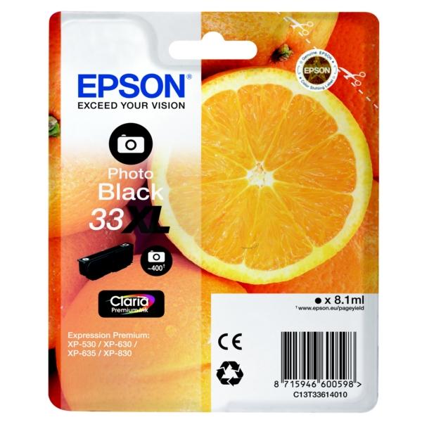Original Epson 33XL Photo Black High Capacity Ink Cartridge (T3361)