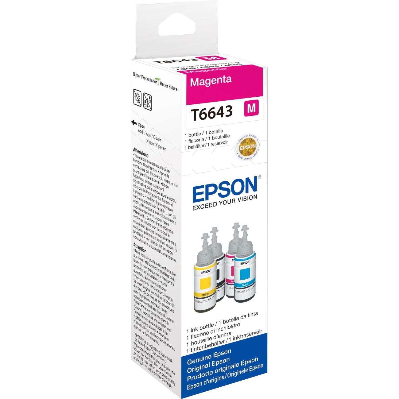 Original Epson T6643 Magenta Ink Bottle