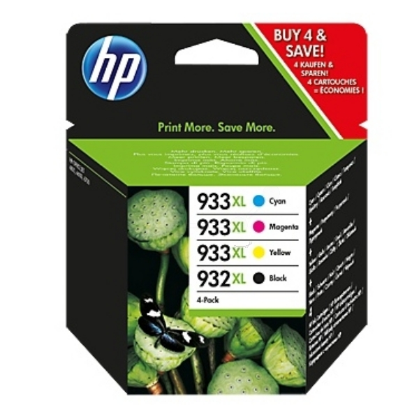 Original HP 932XL/933XL Combo Pack - Black/Cyan/Magenta/Yellow, 4-pack