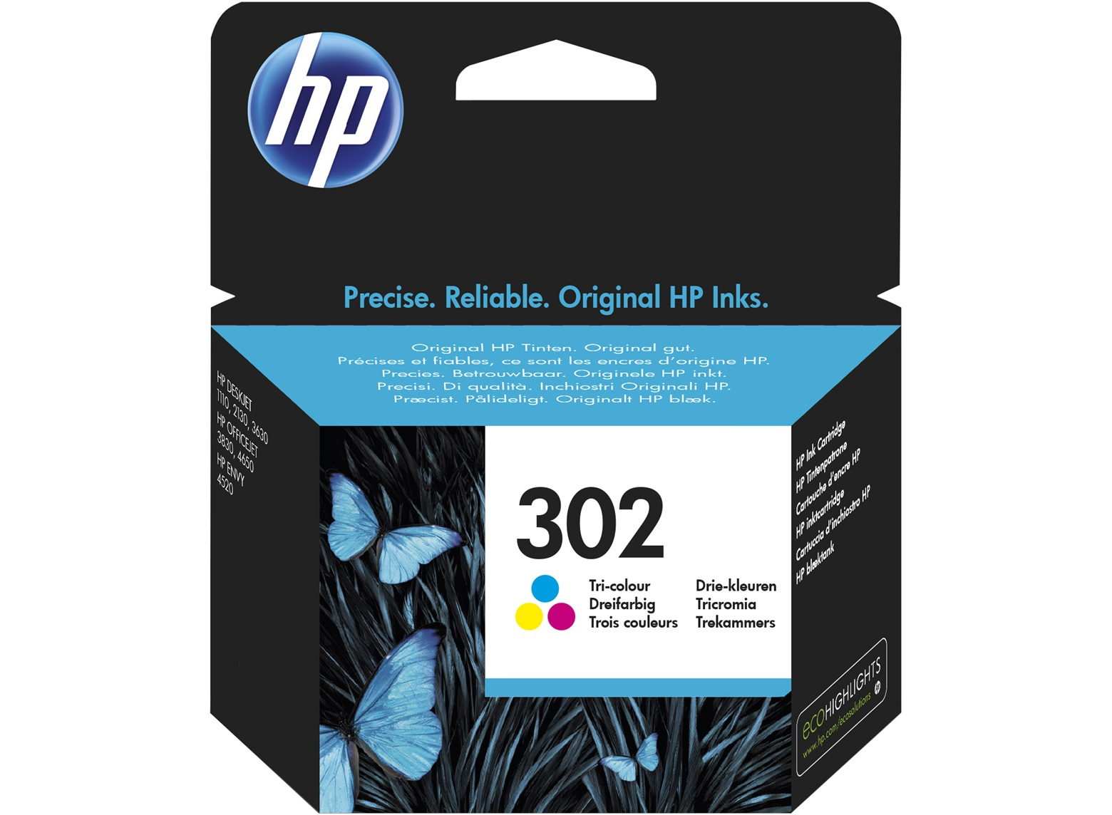 Original HP 302 Colour Ink Cartridge (F6U65AE)