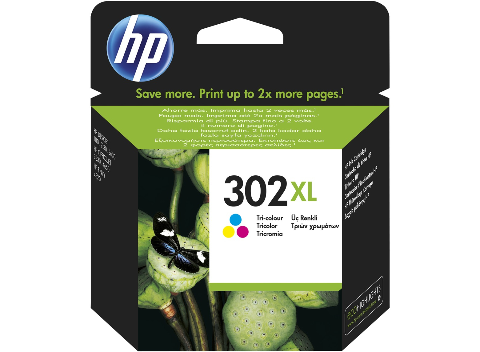Original HP 302XL High Capacity Colour Ink Cartridge (F6U67AE)