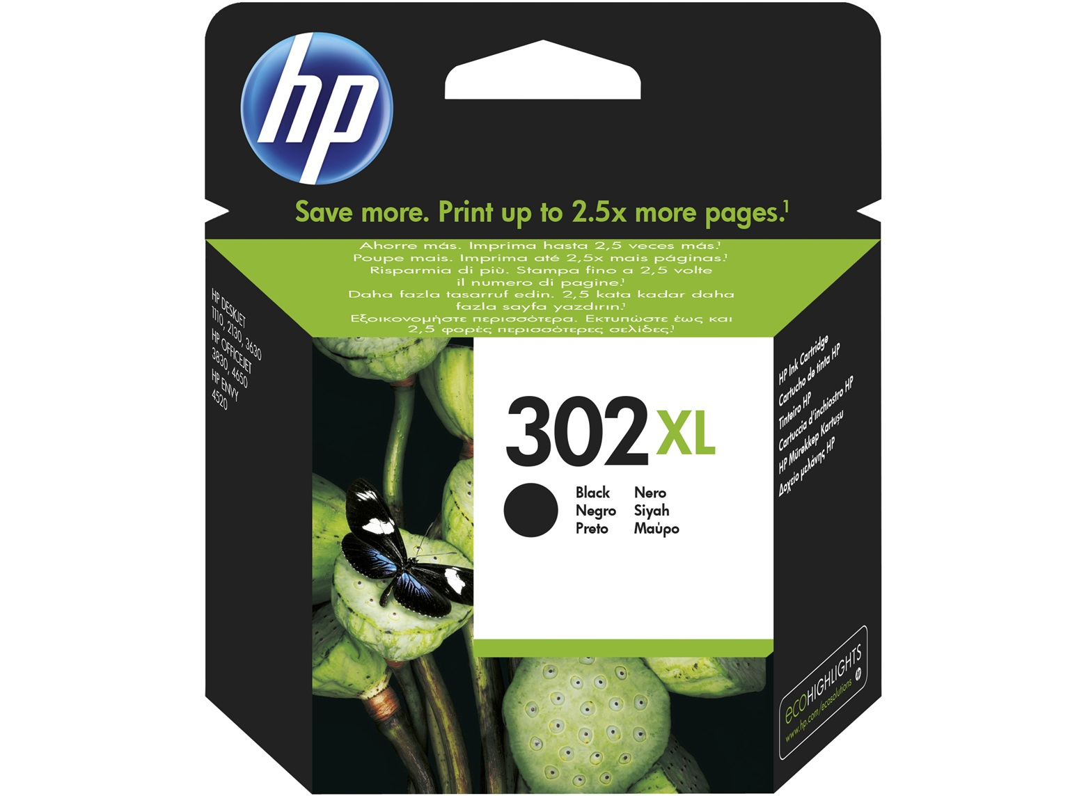Original HP 302XL High Capacity Black Ink Cartridge (F6U68AE)