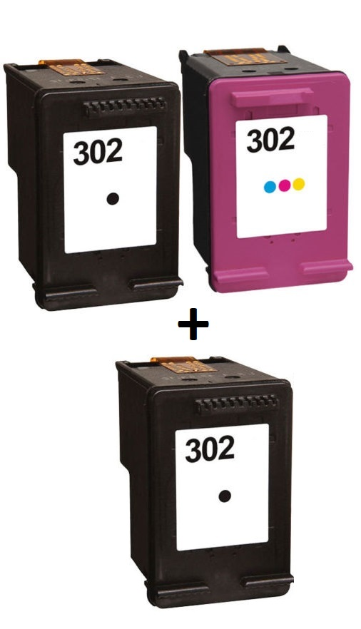 Remanufactured HP 302 Black (F6U66AE) & 302 Colour (F6U65AE) Ink Cartridges High Capacity + EXTRA BLACK