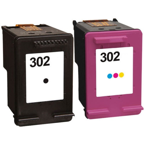 Remanufactured HP 302 Black (F6U66AE) & 302 Colour (F6U65AE) Ink Cartridges High Capacity