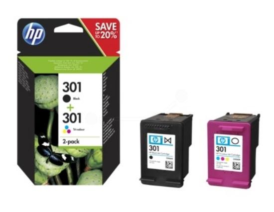 Original HP 301 Black and Colour Ink cartridge Multipack (N9J72AE)